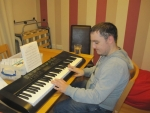 "James working on his current song ""I know him so well"" by Elaine Paige"